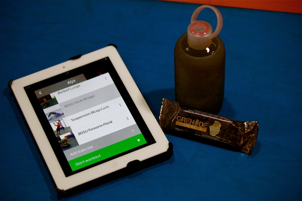 BKR Bottle, Grenade protein Bar, Carb Killa, Custom Fit, Virtual Fitness, Bioage TRX training.